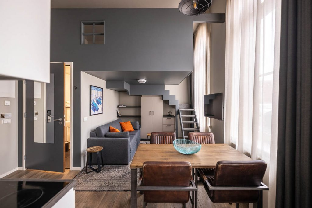 YAYS Amsterdam Maritime, One-Bedroom Apartment, Living Room